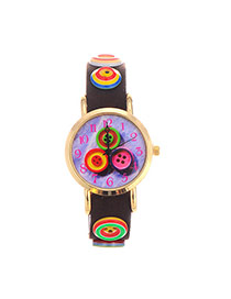 Personality Dark Brown Buttons Decorated Round Case Design  Pu Ladies Watches