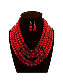 Fashion Red Beads Decorated Multilayer Collar Shape Design  Acrylic Jewelry Sets