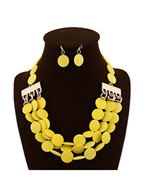 Elegant Yellow Three Layer Beads Weaving Decorated Collar Design  Alloy Jewelry Sets