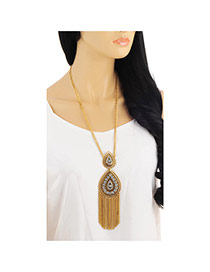 Retro Gold Color Tassel Decorated Water Drop Shape Design