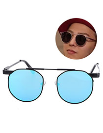 Fashion Alloy Round Shape Frame Decorated Simple Design Alloy%2brosin Women Sunglasses