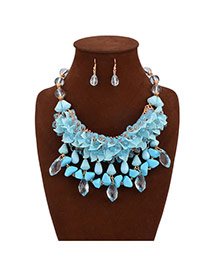 Exaggerate Blue Crystal Flowers Pendant Decorated Tassel Design Alloy Jewelry Sets