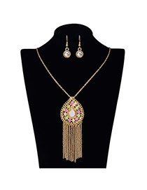 Exaggerate Multi-color Crystal Flowers Pendant Decorated Tassel Design Alloy Jewelry Sets