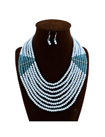 Exaggerate Blue Pure Color Decorated Multilayer Design Pearl Jewelry Sets