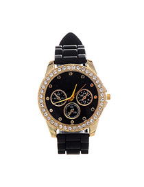 Casual Black Diamond & Small Seconds Decorated Round Case Design  Plastic Ladies Watches