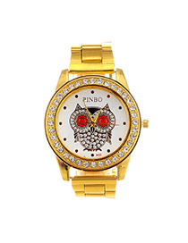 Casual Gold Color Diamond & Owl Pattern Decorated Round Case Design  Alloy Ladies Watches