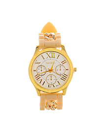 Fashion Khaki Roman Numerals & Chain Decorated Round Case Design  Alloy Ladies Watches