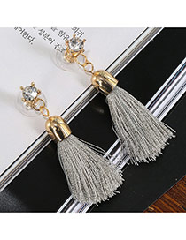 Sweet Gray Diamond Decorated Tassel Design Fabric Stud Earrings