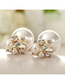 Sweet White Diamond Decorated Round Shape Design Pearl Stud Earrings