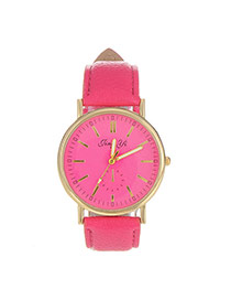 Exquisite Plum Red Letter Pattern Decorated Pure Color Design  Pu Ladies Watches