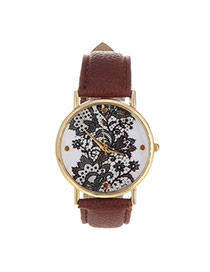 Exquisite Coffee Flower Pattern Decorated Pure Color Design  Pu Ladies Watches