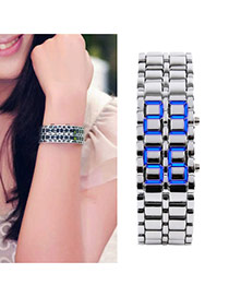 Personality Silver Color+blue Led Display Decorated Double Chain Design Alloy Men's Watches