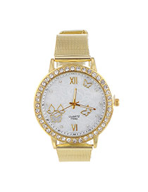 Fashion Gold Color Hollow Out Butterfly Shape Decorated Simple Design  Alloy Ladies Watches