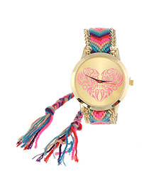 Vintage Pink+purple Heart Shape Pattern Decorated Hand-woven Strap Design  Fabric Ladies Watches
