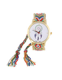 Vintage Green+red Wind Chimes Pattern Decorated Hand-woven Strap Design  Fabric Ladies Watches