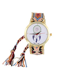 Vintage Red+blue Wind Chimes Pattern Decorated Hand-woven Strap Design  Fabric Ladies Watches