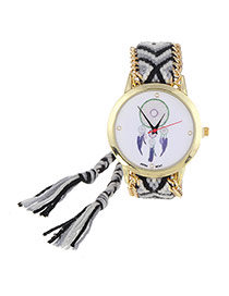 Vintage Black+gray Wind Chimes Pattern Decorated Hand-woven Strap Design  Fabric Ladies Watches