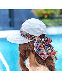 Trending Light Blue Flower Pattern Bowknot Decorated Large Brim Folding Design  Fabric Sun Hats