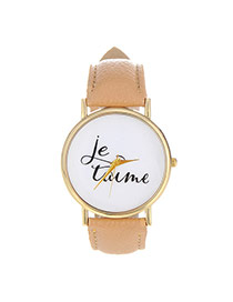 Fashion Khaki Letter Pattern Decorated Simple Design  Pu Ladies Watches