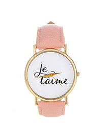 Fashion Pink Letter Pattern Decorated Simple Design  Pu Ladies Watches