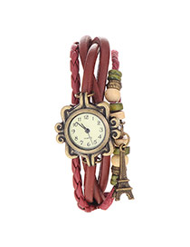 vintage Claret-red Eiffel Tower Shape Decorated Multilayer Design Pu Ladies Watches