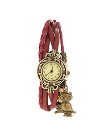 vintage Claret-red Owl Shape Decorated Multilayer Design Pu Ladies Watches