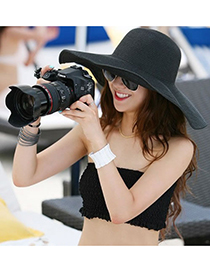 Fashoin Black Spring and summer Seaside Beach Straw Sun Hats