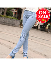 Fashion Blue Candy Color Slim Design Fabric Trousers
