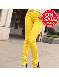 Fashion Yellow Candy Color Slim Design Fabric Trousers