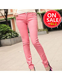 Fashion Pink Candy Color Slim Design Fabric Trousers
