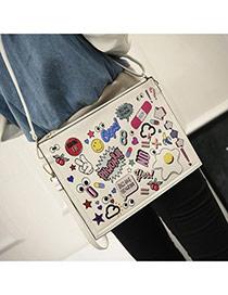 Trendy White Scrawl Pattern Decorated Big Square Design Pu Shoulder bags