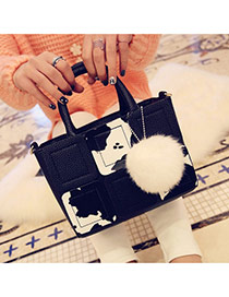 trendy Black+white Color Matching Decorated Square Design Pu Handbags