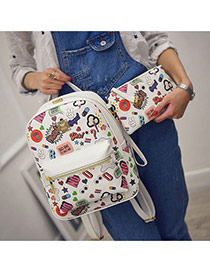 trendy White Scrawl Pattern Decorated Simple Design Pu Backpack