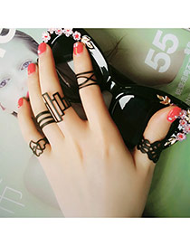 Fashion Black Geometry Shape Pattern Hollow Out Design