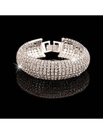 Luxury Silver Color Full Diamond Decorated Simple Design Alloy Fashion Bangles