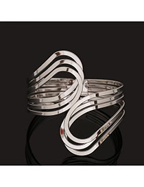 Trending Silver Color Pure Color Multilayer Opening Design Alloy Fashion Bangles