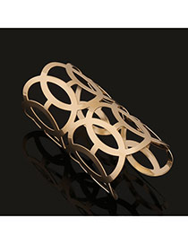 Trending Gold Color Round Pattern Hollow Out Opening Design Alloy Fashion Bangles