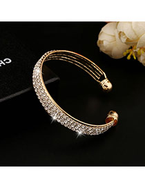 Trending Gold Color Three Layers Diamond Decorated Opening Design Alloy Fashion Bangles
