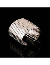 Trending Silver Color Metal Strip Decorated Opening Design Alloy Fashion Bangles