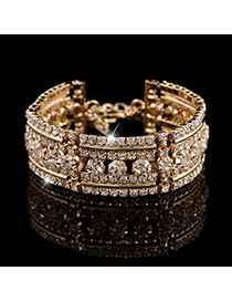 Luxury Gold Color Diamond Decorated Multilayer Design Alloy Korean Fashion Bracelet