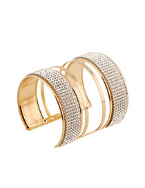 Trending Gold Color Diamond Decorated Multilayer Opening Design Alloy Fashion Bangles