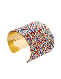 Trending Multicolor Full Diamond Decorated Opening Design Alloy Fashion Bangles