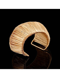 Trending Gold Color Metal Wire Decorated Multilayer Arch Opening Design Alloy Fashion Bangles
