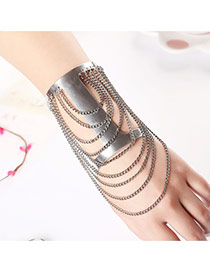 Trending Silver Color Tasel Decorated Hollow Out Design Alloy Fashion Bangles