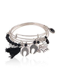 Trending Black Multielement Decorated Multilayer Design Alloy Fashion Bangles