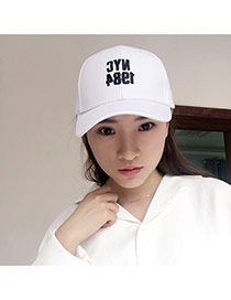 Casual White Embroidery Letter Nyc Decorated Pure Color Design Fabric Baseball Caps
