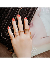 Fashion Gold Color Geometry Shape Hollow Out Design