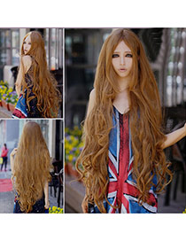 Fashion Linen Yellow Carve Long Curly Design High%2dtemp Fiber Wigs