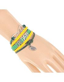 Trendy Yellow+green Seattle Letter Decorated Multilayer Design Alloy Korean Fashion Bracelet