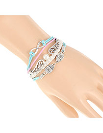 Trendy White+blue Double Owl&wings Decorated Multilayer Design